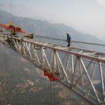 Arial view at construction site at Chenab Bridge Skytruck 400